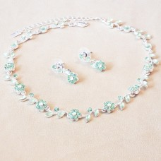 Jewel Set - Crystal Flowers - Shamrock Green