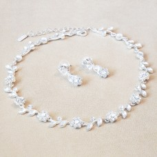 Jewel Set - Crystal Flowers - Silver Clear