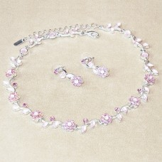 Jewel Set - Crystal Flowers - Rose Pink