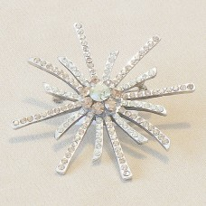 Sunburst Silver Crystal Brooch