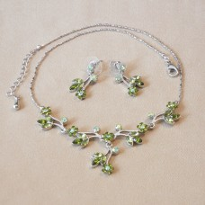 Jewel Set - Austrian Crystal Flowers - Olive