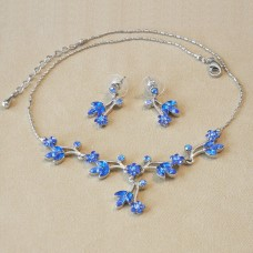 Jewel Set - Austrian Crystal Flowers - Saphire
