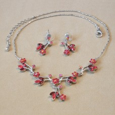 Jewel Set - Austrian Crystal Flowers - Ruby