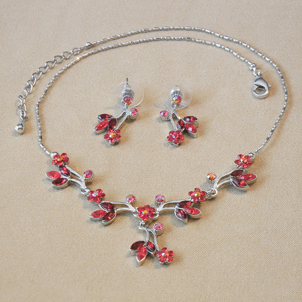 Ruby Crystal Floral Necklace