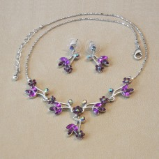 Jewel Set - Austrian Crystal Flowers - Amethyst