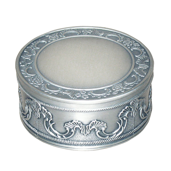 Pewter Round Jewelry Box