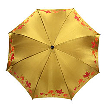 Maple Leaf Gold Fabric Long Umbrella