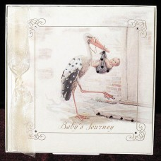 New Stork Baby Record Book with Swarovski Crystals