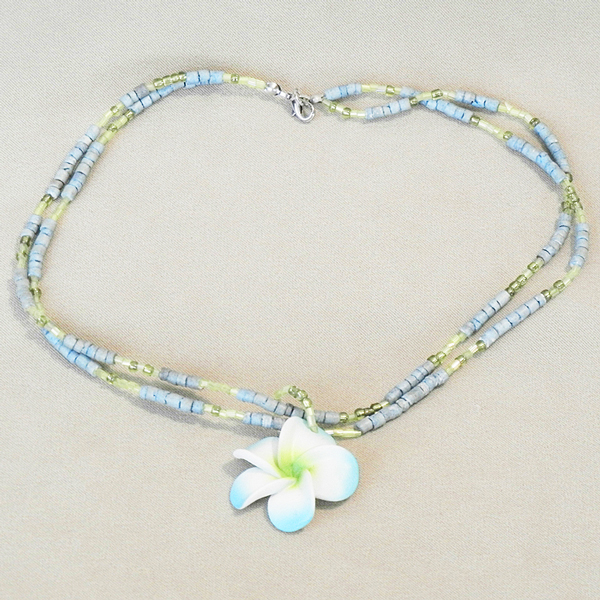 Blue Flower Pendant with Shell Chains