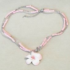 Pink Flower Pendant with Shell Chains