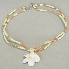 Yellow Flower Pendant with Shell Chains