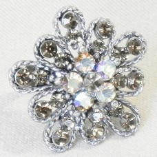 Smokey Rhinestones Flower Ring
