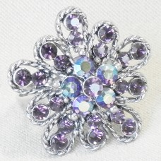 Purple Rhinestones Flower Shape Ring