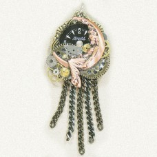 Dixi Jewelry Brooch - Pendant with Lady on Moon