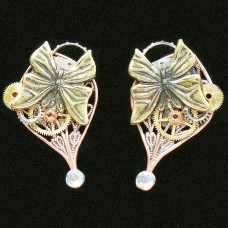 Steampunk Art Butterfly Earrings