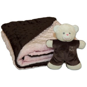 Pink Baby Blanket with Teddy Bear by Warm Buddy