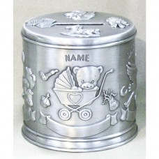 Pewter Engravable Baby Keepsake - Money Bank Teddy Bear