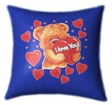 I love You Teddy with Red Hearts Glow In The Dark Pillow