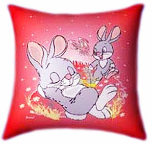 Bunnies Playing Easter Gifts for children Glow In The Dark Pillow