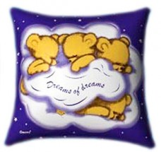 Dreams of Dreams 3 Teddies Glow In The Dark Pillow