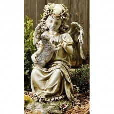 "16"" Angel with Kitten Garden Statue"