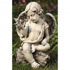 "12"" Cherub with Dove Garden Statue"