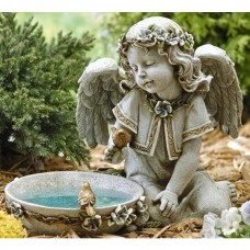 "14"" Angel Girl with Birds Solar Garden Bird Bath"