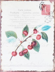 Nostalgic Metal Signs - Vintage multilingual Postcard with Cherries