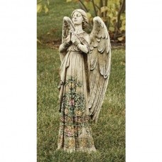 "24"" Angel in Rose Dress Praying Garden Statue"