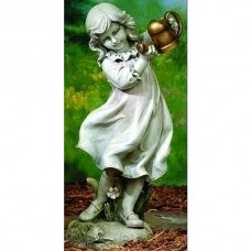 "22"" Girl with Watering Can Garden Statue"