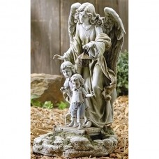 "21"" Guardian Angel Solar Garden Statue"