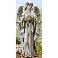 "24"" Angel Holding Bird Nest Garden Statue"