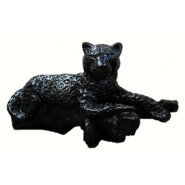 Leopard On Log Floor Statue- Ceramic