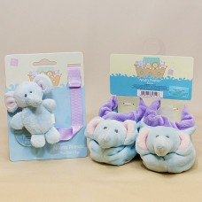 Baby Booties and a pacifier clip- Noah's Ark - Elephant