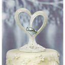 Stylized Heart & Wedding Bands Wedding Cake Topper
