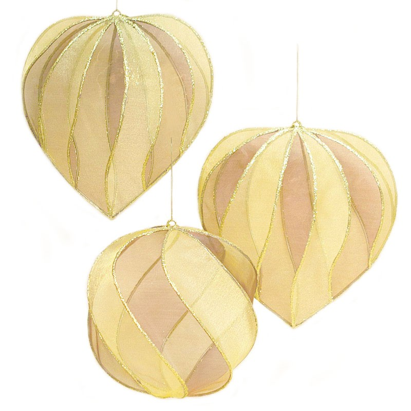 Hearts and Ball Ornament Set