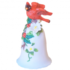 Christmas Ornament Cardinal Bird on Christmas Bell