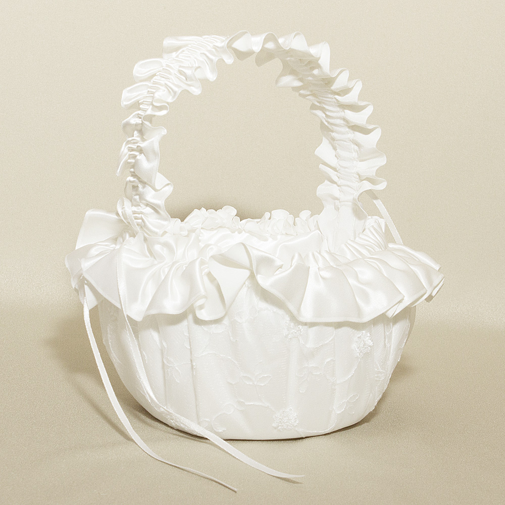 Wedding Flower Basket - Embroidered Satin