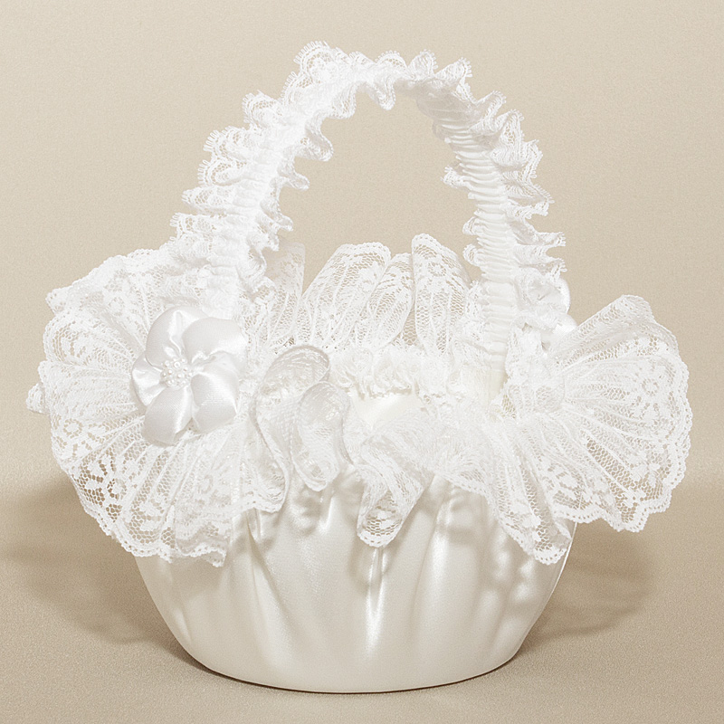 Wedding Flower girl Basket - Puffed Satin Flower