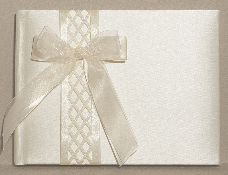 Wedding Guest Book - Lattice Ivory