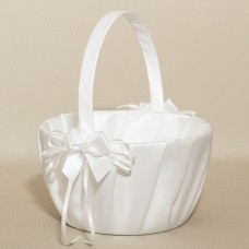 Wedding Flower Basket - Satin With Pearls - White