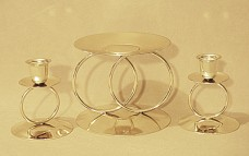 Wedding Unity Candle Holder Set - Gold ring