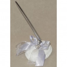Wedding Pen Set with glittering heart and Iris ribbon