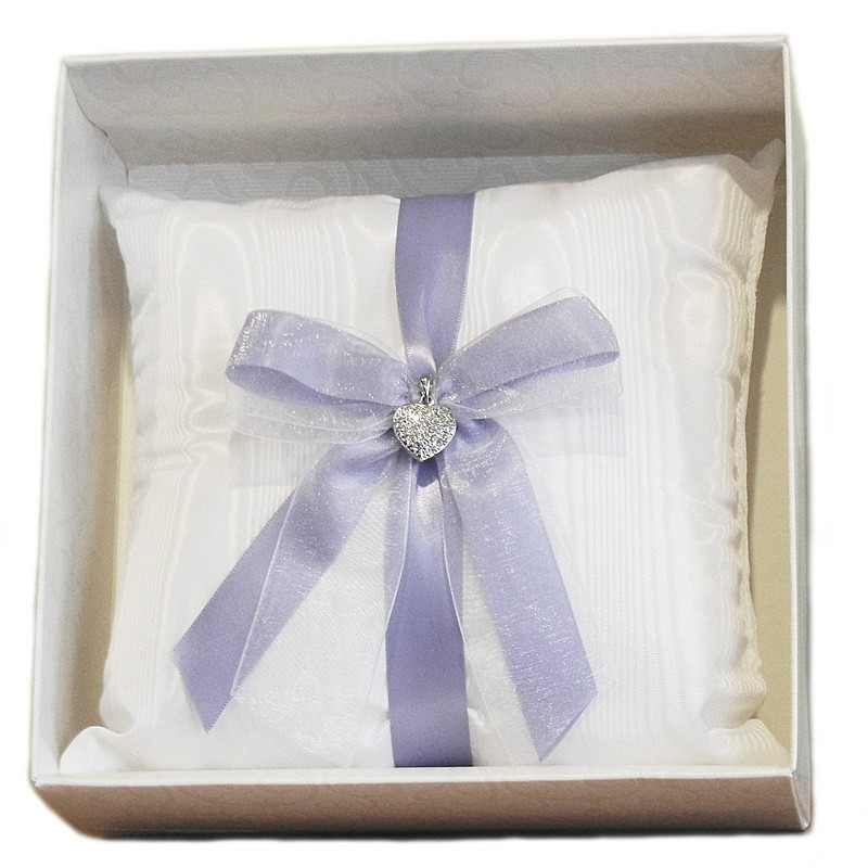 Wedding Ring Pillow with glittering heart pendant and Iris ribbon