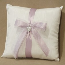 Wedding Ring Pillow with glittering heart pendant and orchid ribbon