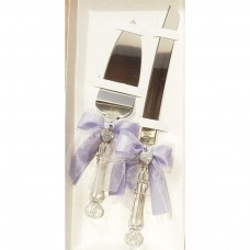 Wedding Knife and Server Set with heart pendant and Iris ribbon
