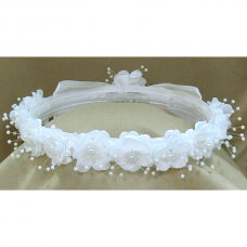 First Communion White Head Band Beatrix