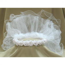 First Communion White Head Band Veil Tiana