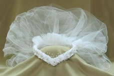 First Communion White Head Band Veil Shelly