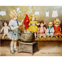 A Busy Day In Dollville Victorian tin sign